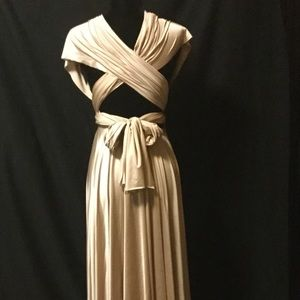 Tan Pleated Multi Wrap Gown